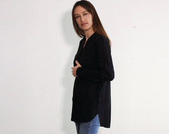 Long Top, Black Tunic Top, Black Women Blouse, Long Shirt, Black Spring Top, Buttoned Top, Asymmetric Shirt, Asymmetric Tunic,Oversize Tunic