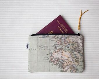 World map zipper pouch, pencil case, small cosmetic bag, Viggi Handmade