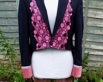 "Mens 42"",womens UK 18, US 14 ,Upcycled dark navy pinstripe  ringmaster tailcoat jacket"