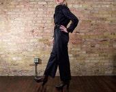 cazzuto 80s satin jumpsuit / wide leg jumpsuit / 70s jumpsuit / disco one piece / minimal jumpsuit / long sleeve / black romper / 80s onesie