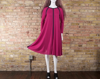 back together 70s vintage TENT dress  / s trapeze dress / color block dress / minimalist 70s / fuchsia long sleeve dress / midi long sleeve