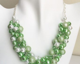 Lime Green and White Necklace, Bridesmaids Jewelry, Lime Green Necklace, Pearl Jewelry, Wedding Jewelry, Bridesmaid Necklace