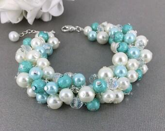 Aqua Pearl Bracelet, Bridal Bracelet, Aqua Bracelet, Blue, Ivory Bracelet, Cluster Bracelet, Bridesmaid Bracelet, Wedding Bracelet, Chunky