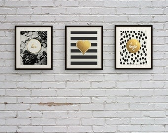 Black & White Faux Gold Foil Wall Art Print Set - Live Laugh Love Inspirational Quote - City Chic Collection