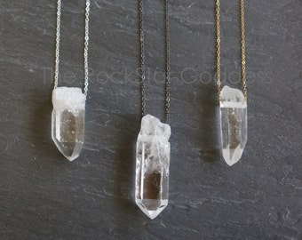 Raw Quartz Necklace / Crystal Necklace / Rough Quartz Necklace / Quartz Necklace / Crystal Jewelry / Raw Quartz Jewelry /Raw  Quartz Pendant