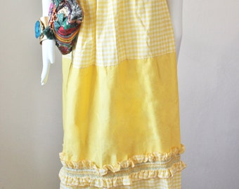 Yellow maxi skirt, vintage, 1960s, ruffles, tube dress, boho, white, green, gingham, checkered, plaid.