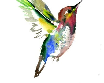 Flying Hummingbird, one of a kind watercolor painting 12 X 9 in