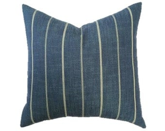 Navy, Denim, Indigo and Cream Ticking Stripe Linen Designer Pillow Cover- Accent Pillow- Throw Pillow- Nautial Pillow