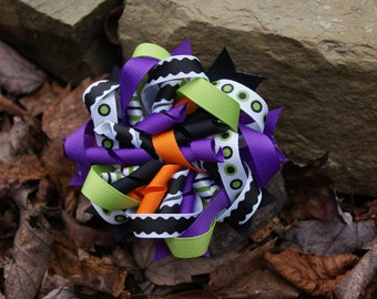LAST ONE boutique kids girls child toddler adult korker hair bows hair clip halloween hair bow purple black green costume accessory