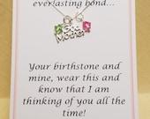 Gift for Godmother Everlasting Bond Custom Birthstone Necklace Jewelry Sterling Silver from Godson, Goddaughter, or Godchild