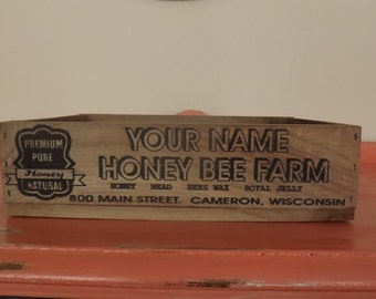 Personalized Honey Bee Farm Crate, laser engraved, wedding, gift, decor, bees, farmhouse
