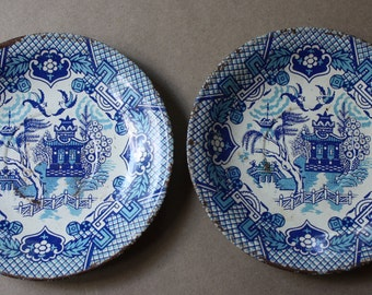 Ohio Art Tin, Lithographed Blue Willow, Child's or Doll's Tea Set Plates