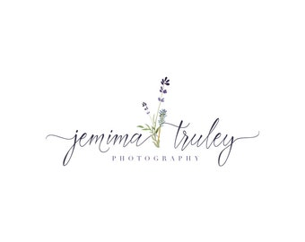 Lavender Logo - Handprinted watercolor Premade Photography Logo and Watermark Design - Photography or Boutique Logo  - Business Branding
