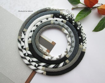 """Bead Crochet lariat necklace """"Lady Grey"""" black grey and white long Lariat different drawings minimal beaded jewelry made to order"""