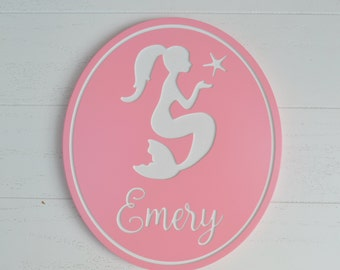 Personalized Mermaid Sign; Custom Engraved Mermaid Wall Art