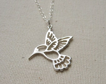 Large Sterling Silver Hummingbird Necklace - Nature Jewelry, Woodland Necklace Gift for Her