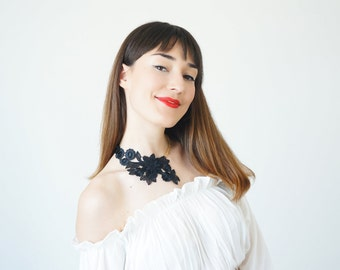 Summer Party Summer Outdoors Black Lace Necklace Statement Necklace Gold Necklace / VALENTINO