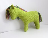 Hand Knit Horse Made made with Acrylic and Hand Dyed/ Hand Spun Yarns