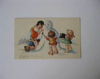Happy New Year Vintage Post Card - Children Build a Snowman with Top Hat - Used - 1951