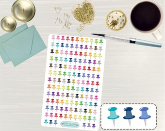 Thumbtack Stickers - Thumb Tack Stickers, Icon Stickers, Push Pin Stickers, Pushpin Stickers, for use with ERIN CONDREN LifePlanner