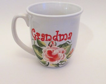 Grandma Coffee Mug - Hand-painted Coral Rose Grandma Tea Cup - 12 Ounce Personalized Gift Mug