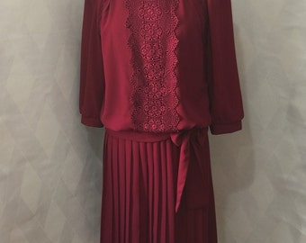 Vintage 80s Another Thyme Pleated Skirt and Loose Cut Blouse with Bow Tie Waist Deep Cranberry Lace Trim