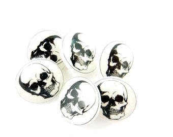 "6 SMALL Skull Sewing Buttons.  Human Skull Handmade Buttons.  1/2"" or 13 mm Shank Style."