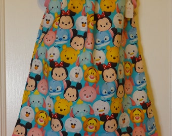 Disney Tsum Tsum Girls Pillowcase Dress, Made To Order Size 6m, 9m, 12-18m, 18-24m, and Size 2 to 8, Mickey, Minnie, Pooh, Stitch +