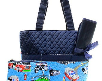Personalized Boys Diaper Bag Quilted Baby Boy Shower Gift Fire Trucks Police Cars Helicopters Ambulances