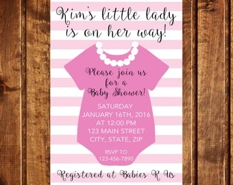Pink and Pearls Baby Shower Invitation Pink and White Baby Shower Invitation