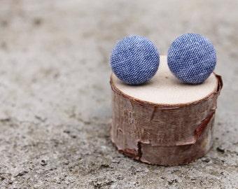 Chambray Fabric Button Earrings // Denim Earrings // Fabric Studs // Jean Earrings // Blue Earrings