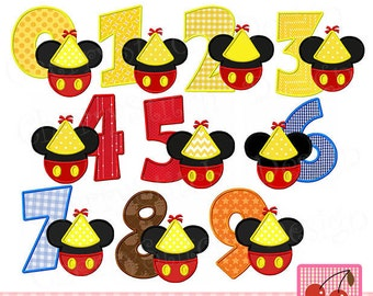 Mickey Numbers 0 through 9 Birthdy Mickey Machine Embroidery Applique Design -4x4 5x5 6x6 inch