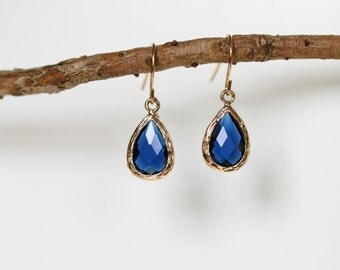 Sapphire Earrings - Gold Dangle Earrings - Stone Earrings - Drop Earrings - Birthstone Earrings - Ocean Blue Earrings - Gold Earrings