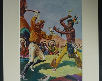 1950s Vintage Cowboy Print, Retro Cowboys and Indians Decor, Available Framed, Western Art, D. C. Eyles Wild West Picture, Wigwan Wall Art