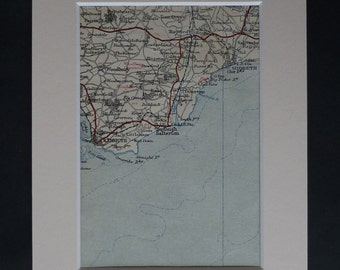 1930s Antique Devon Map of Budleigh Salterton, Exmouth Decor, Available Framed, Sidmouth Art, Woodbury Gift, Otterton Wall Art, Stoneyford