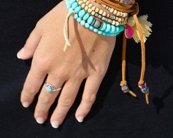 Sleeping Beauty Turquoise Stretch Bracelet w Leather Accent, Minimalist Stretch Bracelet, 5mm Round Robins Egg Turquoise, Organic, Petite,