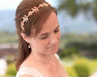 Gold leaf headband, gold bridal headband, gold wedding headband, gold hairaccessory, bridal accessory, gold hairaccessory