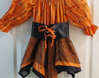 Witch Costume, Witch Dress & Hat, Halloween Witch Outfit, Halloween Witch, Size 4 Witch Dress, Orange Black Witch, One of a Kind