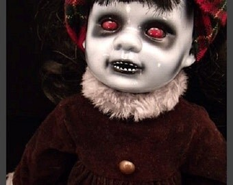 "Lorelei 15"" Creepy Scary OOAK Hand Painted and Altered Porcelain Doll"