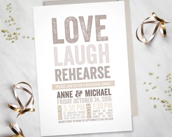 Love, Laugh, Rehearse – Rehearsal Dinner Invitation (Digital file)