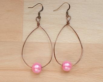 Copper Teardrop Earrings - Statement Jewelry - Wire Hoop Earrings - Wedding Jewelry - Big Hoop Earrings - Bridesmaid Gift