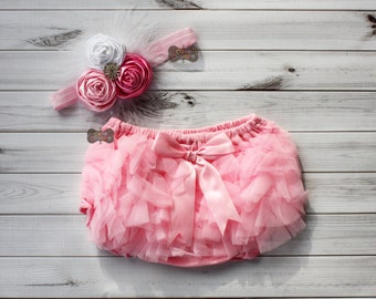 Boutique Style-PINK-Headband set-Diaper cover,pink and white- bloomers-Shabby Chic-chiffon-ruffled diaper cover-newborn-photo prop-baby girl