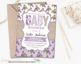 Lavender Floral Baby Shower Invitation, Shabby Baby Shower Invitation, Rustic Baby Shower Invitation, Burlap Baby Shower Invitation, Purple