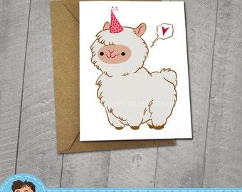 Happy Birthday Alpaca Card, I Miss You, Greeting Card, 5 x 6.5, 5 x 7 Kraft Envelope, Friendship Card, BFF Card, I love You Card, Cute,