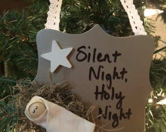 Baby Jesus Christmas Ornament (Gold) -Silent Night, Holy Night