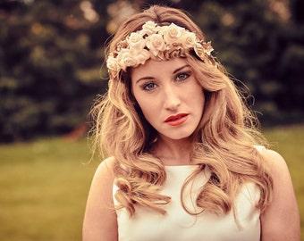 Wedding golden tiara - Floral bridal tiara - Rose tiara for brides - Flower fascinator