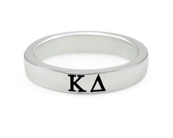 kappa delta sterling silver skinny band with black enamel letters
