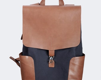 Leather and cotton canvas backpack
