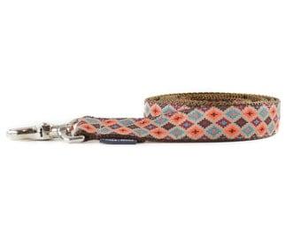 Tribal Brown Dog Leash - Geometric Turquoise Orange Brown and White Southwest Aztec Dog Leash