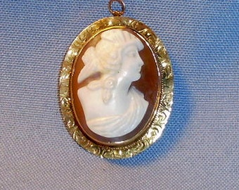 Antique 10K Gold Shell Cameo Victorian Lady Brooch